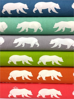 Jay-Cyn Designs for Birch Organic Fabrics, Bear Camp, Bear Hike Sampler in FAT QUARTERS 5 Total