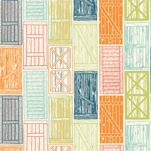 Jay-Cyn Designs for Birch Organic Fabrics, Farm Fresh, Barn Doors Multi