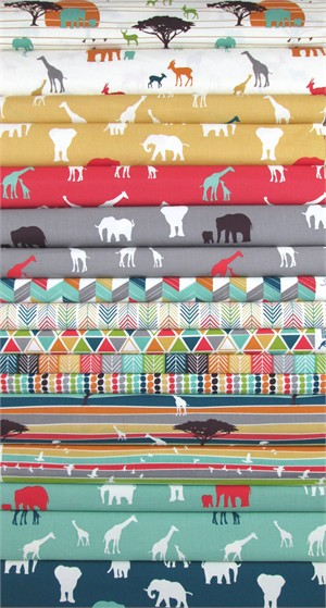 Jay-Cyn Designs for Birch Organic Fabrics, Serengeti, Entire Collection in FAT QUARTERS 15 Total