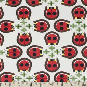 Charley Harper for Birch Organic Fabrics, Backyard, KNIT, Lucky Ladybug