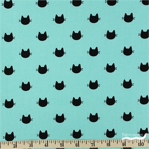 Camelot Fabrics, Meow, Kitty Dots Turquoise