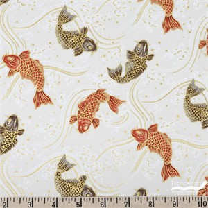 Japanese Import, Metallic Koi Garden, Koi Toss Cream