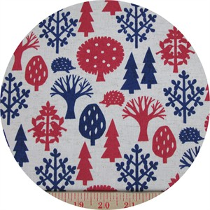 Kokka Japan, CANVAS, All the Trees, Red and Blue