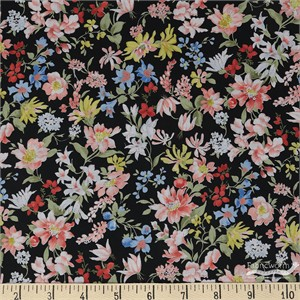 Sevenberry for Robert Kaufman, Petite Garden LAWN, Floral Flow Black