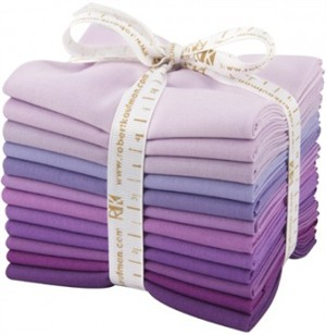 Robert Kaufman, PRE-CUT Kona Cotton, Lavender Fields in FAT QUARTERS 12 Total