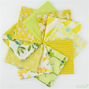 Art Gallery Fabrics, PRE-CUT Color Master, Lemon Green in FAT QUARTERS 10 Total
