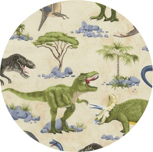 Timeless Treasures, Large Dino Scene Tan