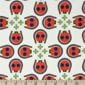 AVAILABLE FOR PREORDER,  Charley Harper for Birch Organic Fabrics, Backyard, Lucky Ladybug