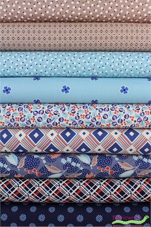 Denyse Schmidt for Free Spirit, Ludlow, Forget Me Not in FAT QUARTERS 7 Total (PRECUT)