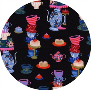 Rifle Paper Co. for Cotton and Steel, Wonderland, Mad Tea Party Black