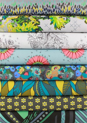 Anna Maria Horner for Free Spirit, Mod Corsage, Graphite in FAT QUARTERS 7 Total