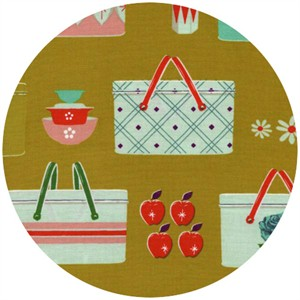 Melody Miller for Cotton and Steel, Picnic, Picnic Baskets Mustard