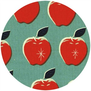 Melody Miller for Cotton and Steel, Picnic, CANVAS, Apples Blue/Red