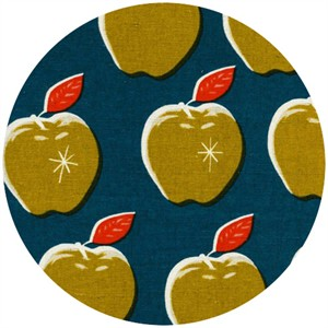 Melody Miller for Cotton and Steel, Picnic, CANVAS, Apples Teal/Mustard
