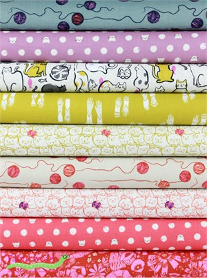 Sarah Watts for Cotton and Steel, Cat Lady, Meow in FAT QUARTERS 7 Total