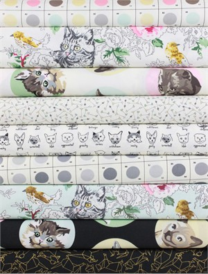 Erin Michael for Moda Fabrics, Meow or Never in FAT QUARTERS 8 Total (PRECUT)