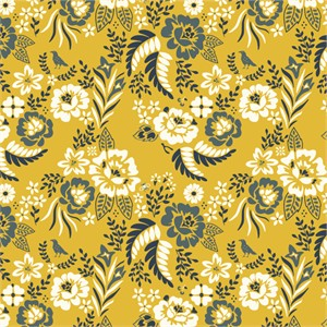 AVAILABLE FOR PREORDER, Arleen Hillyer for Birch Organic Fabrics, Merryweather, Merry Floral Marigold