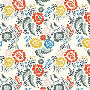 Arleen Hillyer for Birch Organic Fabrics, Merryweather, Merry Floral Multi