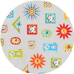 Robert Kaufman, Let's Play House, Mid Century Modern Clocks Grey