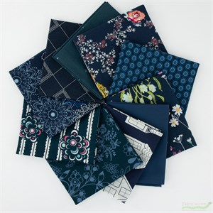 Art Gallery Fabrics, PRE-CUT Color Master, Midnight Ocean in FAT QUARTERS 10 Total