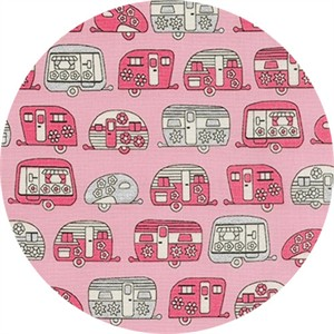 Robert Kaufman, On The Road, METALLIC, Mini Trailers Pink