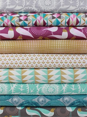 Joel Dewberry for Free Spirit, Modernist Plum in FAT QUARTERS 9 Total