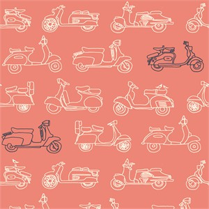 Jay-Cyn Designs for Birch Organic Fabrics, Trans-Pacific, Mopeds Coral