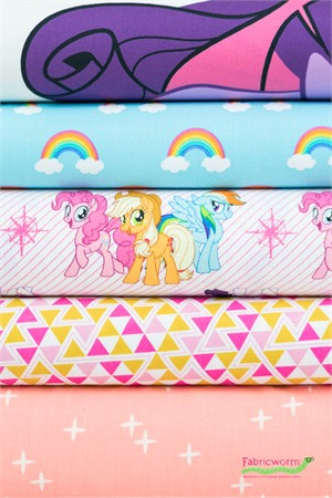 Fabricworm Custom Bundle, My Little Pony Friends in FAT QUARTERS 4 Total  (PRECUT)