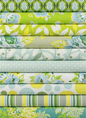 Heather Bailey for Free Spirit, Nicey Jane Blue in FAT QUARTERS 10 Total