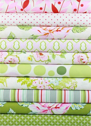 Heather Bailey for Free Spirit, Nicey Jane Pink in FAT QUARTERS 10 Total