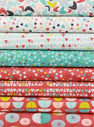 Jenn Ski for Moda, Ninja Cookies, Persimmon in FAT QUARTERS 8 Total