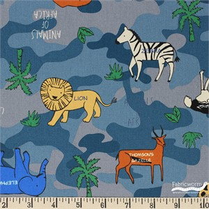 Japanese Import, OXFORD, Animals of Africa Blue