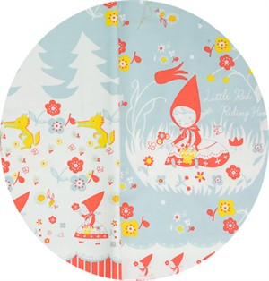"Japanese Import, OXFORD, Little Red Riding Hood Powder Blue Border Print (24"" Panel)"