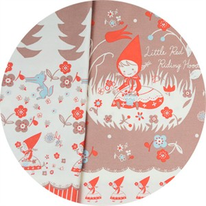"Japanese Import, OXFORD, Little Red Riding Hood Dusty Rouge Border Print (24"" Panel)"