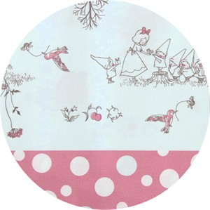 Japanese Import, OXFORD, Snow White's Gift Exchange Double Border Pink/Blue