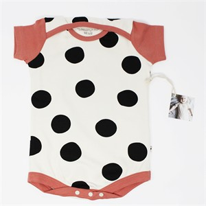 Kinder Play Co, Organic Cotton, Pop Dots Black Coral Onesie