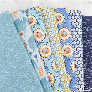 Victoria Johnson for Windham, Painted Jungle, Blues in FAT QUARTERS 6 Total