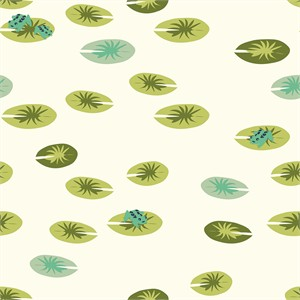Patrick and Andrea Patton for Birch Organic Fabrics, Swan Lake, DOUBLE GAUZE, Frog Pad Cream