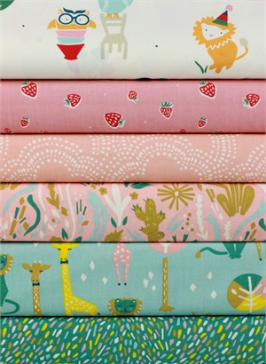 Fabricworm Custom Bundle, ORGANIC, Pastel Party in FAT QUARTERS 6 Total (PRECUT)