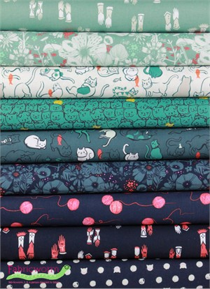 Sarah Watts for Cotton and Steel, Cat Lady, Purr in FAT QUARTERS 8 Total
