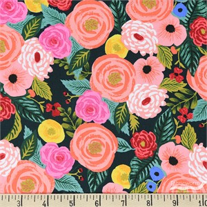 Rifle Paper Co. for Cotton and Steel, English Garden, RAYON, Juliet Rose Navy