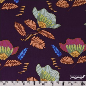 Maureen Cracknell for Art Gallery, Autumn Vibes, RAYON, Pressed Ablossom Royal