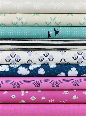 Rashida Coleman - Hale for Cotton and Steel, Zephyr, Sky in FAT QUARTERS 9 Total