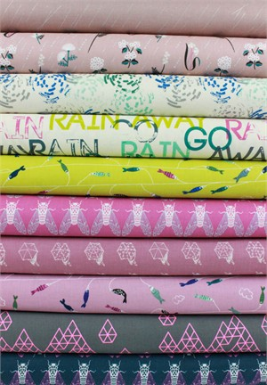 Rashida Coleman-Hale for Cotton and Steel, Raindrop, Blush in FAT QUARTERS 10 Total