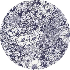 Robert Kaufman, Digital Fashion RAYON/LAWN, Outlined Floral Indigo