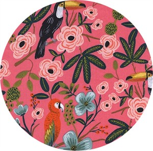 Rifle Paper Co. for Cotton and Steel, Menagerie, RAYON/LAWN, Paradise Garden Coral