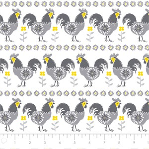 COMING SOON, Vicky Yorke for Camelot Fabrics, Village Life, Roosters Grey