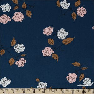 Kimberly Kight for Cotton and Steel, Steno Pool, Roses Midnight