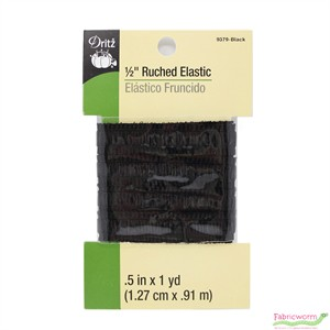 Dritz, 1/2'' Ruched Elastic, Black