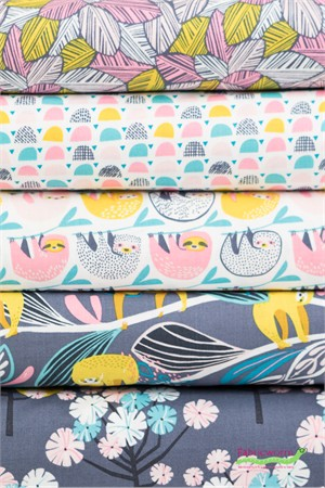 Katy Tanis for Blend, Rainforest Slumber, Pink in FAT QUARTERS 5 Total